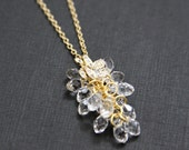 Swarovski Crystal Cluster Orchid Necklace Gold Cubic Zirconia Detailed