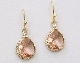 Sicily. Rose Pink Faceted Glass Briolette Earrings in Fancy Gold Setting
