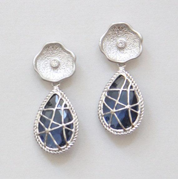 SALE. Montana Blue Silver Webbed Teardrop Stone Earrings with Swarovski Crystal Post