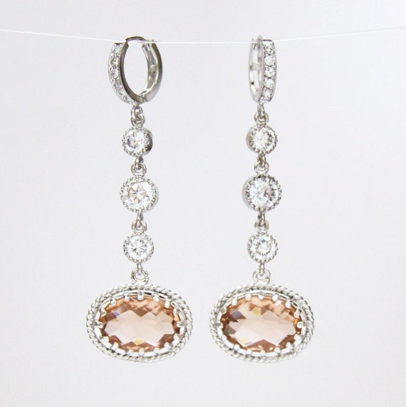 Champagne Rose Oval White Cubic Zirconia Earrings Sterling Silver