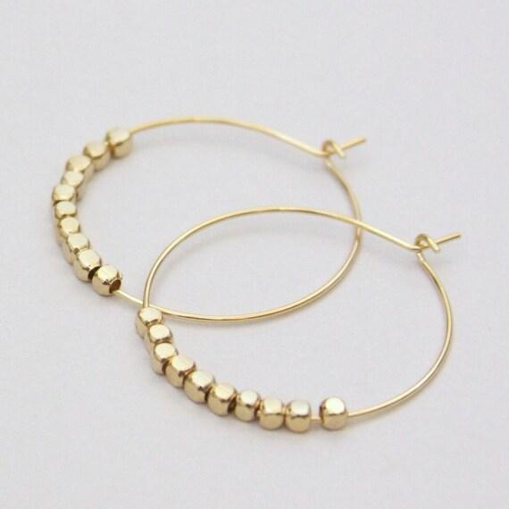Golden Beaded Cubes Hoop Earrings