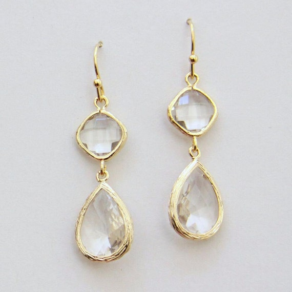 Deva. Faceted Crystal Clear Glass Stone Earrings in Gold