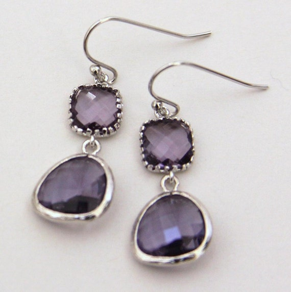 Colorblocks. Tanzanite Purple Silver Earrings Faceted Cubic Zirconia & Glass