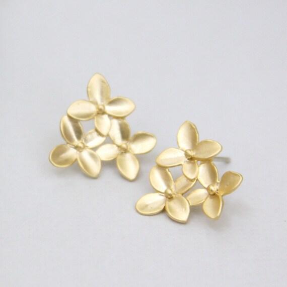 Spring Bouquet.  Matte Finish Golden Flower Post Earrings