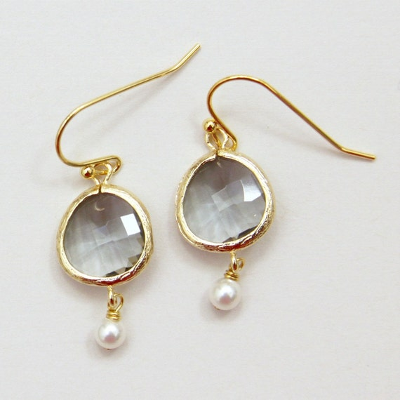 Tea for Two. Dove Gray Faceted Glass Stone White Swarovski Pearl Earrings Gold. Last pair