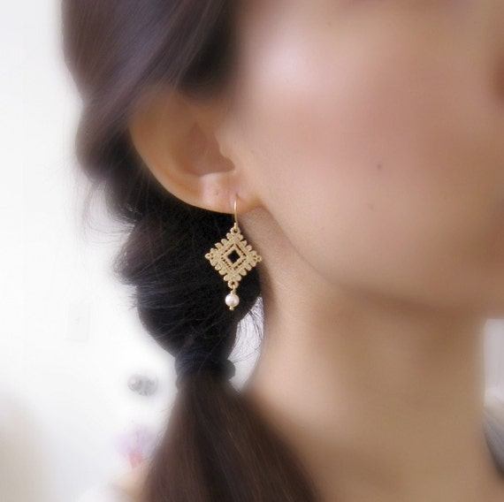 Somewhere in Time. Lace Gold Earrings Matte Gold Vintage Inspired