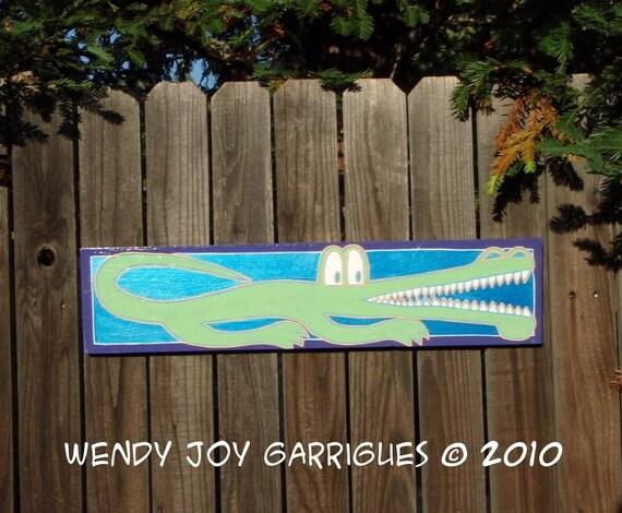 Alligator Nursery Decor Original Art Mint Blue Green Purple Acrylic Paint on Wood 6x24 inches