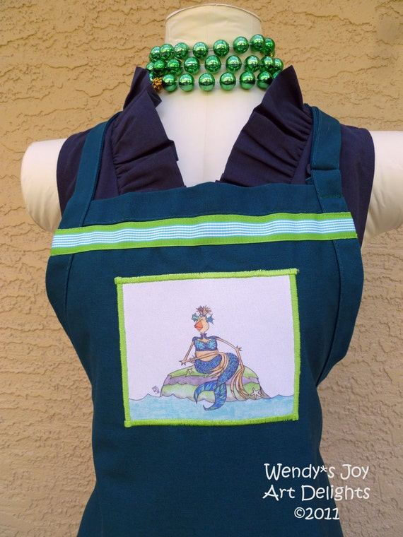 Mermaid Apron teal 2 pocket with Chicken of the Sea artwork applique and ribbon trim