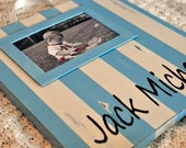 Hand Painted Custom Distressed Wooden Name Plaque with Photo Frame