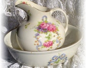 Chic Cottage Washbowl and Pitcher - ca 1872