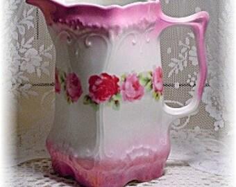 Antique Porcelain Luster Pitcher - Pink Roses - Germany