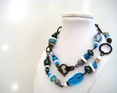 Short Necklace - Assembled Blue and Brass