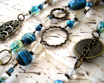 SALE - Long Blue, Brass and Glass Necklace