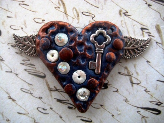 SALE - Steampunk Rusted Blue Heart Pendant or Brooch