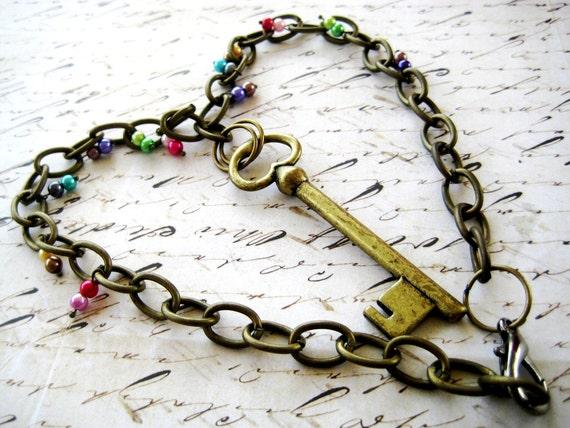 Gypsy's Key Rainbow Necklace