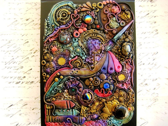 Book Cover Art Etsy : Art theme sketch book handmade polymer clay cover