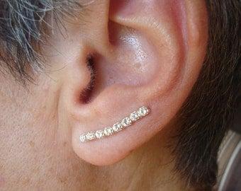Sterling Silver Swarovski Crystal Ear Climbers 8 Stone