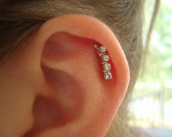 Sterling Silver Swarovski Crystal Cartilage Ear Art Pin