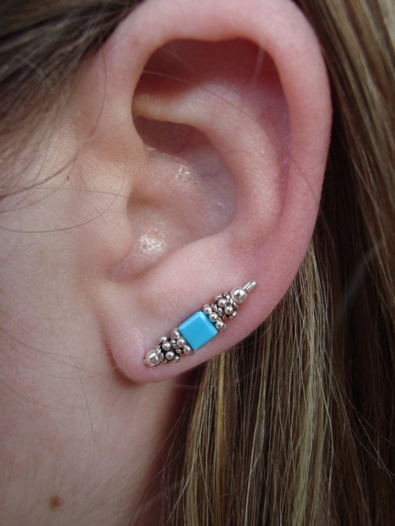 Sterling Silver Turquoise Ear Art Pins