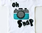 Oh snap bodysuit, vintage camera, unisex, baby shower gift,