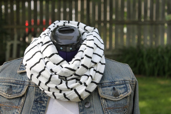 nautical, black and white scarf, stripe, infinity scarf, light weight