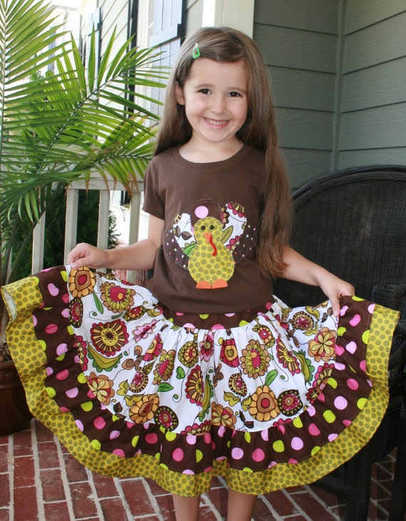 """Sale..Lola""""s Posies Rose  Double RuffledTwirl Skirt  and Patchwork Turkey  Applique..White  Long sveeved Shirts Only available. Size 6m-8T"""
