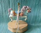 Wind Up Musical Carousel Horse Vintage
