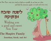 Giraffe and Apple Tree New Year Card