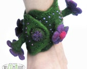 Boho garden bracelet violet flowers hand felted embroidered with glass beads boho jewelry cuff