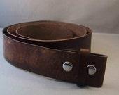 Vintage Brown leather Belt, Belt for Buckle, Mens Leather Belt, Womens Leather Belt, Leather Strap Belt, Brown Snap Belt, Brown Leather Belt