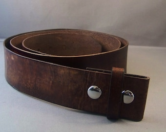 Vintage Brown leather Belt, Belt for Buckle, Mens Leather Belt, Womens Leather Belt, Leather Strap Belt, Brown Snap Belt, Brown Leather Belt