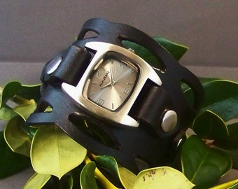 Leather Watch (Black Wave)