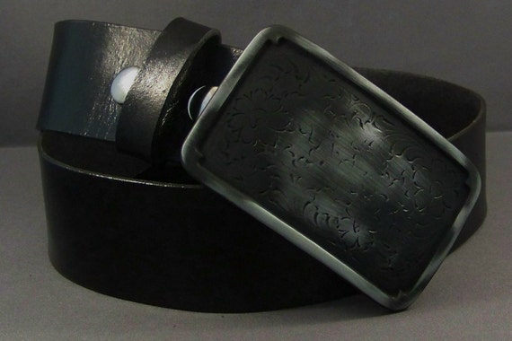 Black Leather belt, Black Mens Leather Belt, Black Womens Leather Belt, Snap Leather Belt, Custom Leather Belt, Silver Buckle for Belt