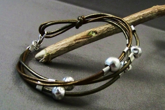 """Leather and Sterling Silver Bracelet """"IN LOVE"""""""