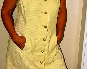 SALE Vintage Moe Nathan Canary Yellow Dress with Big Pearl Buttons size 12