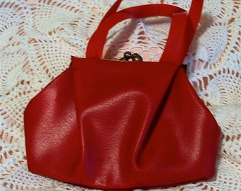 1960 Red Vinyl Toy Play Purse
