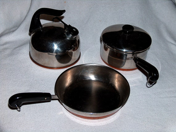 1950s Vintage 3 piece Toy Revere Ware Skillet, Kettle and Pot with Lid