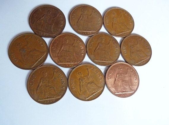 Ten Queen Elizabeth II 1967 Pennies