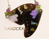 Custom Order  Real Butterfly Wings Earrings Graphium Weiskei Purple Dots Accessory Fairy Pixie Queen Mab Elf Woodland Spirit Reversible