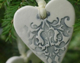 Wedding Favors - Handmade Ceramic Hearts -Fifty, Embellished Ornaments