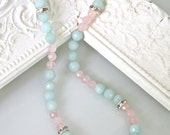 Mint Green Alabaster Pink Rose Quartz Glass Beads Rhinestone Faceted Faceted Bead Necklace - Bridal, Wedding, Bridesmaid