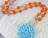 Vintage Tangerine Orange Glass Beads  Aqua Blue Flower Pendant Necklace