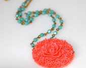 Vintage Carved Celluloid Coral Flower Pendant On Turquoise Blue Glass Beaded Necklace