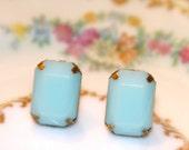 Vintage Mint Green Stone Post Earrings