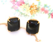 Jet Black  Square Glass Vintage Stone Post Earrings - Wedding, Upcycled, Bridesmaid