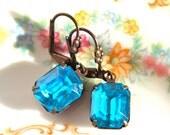 RESERVED KRISTIE 3 pair Vintage Aqua  Blue Turquoise Bridesmaids Earrings