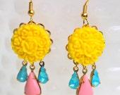 Vintage Aqua Blue Moonstone Pink Pear Teardrop Bright Yellow Flower Drop Dangle Earrings - Bridesmaid, Wedding