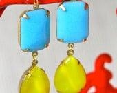 Vintage Lemon Yellow Pear Moonstone and Blue Stone Dangle Earrings - Wedding, Bridal, Bridesmaid