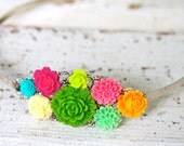Vintage Inspired Bright Colorful Flower Bouquet Silver Tone Headband