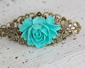 Vintage Inspired Ruffled Aqua Blue Rose Antique Bronze Hair Barrette
